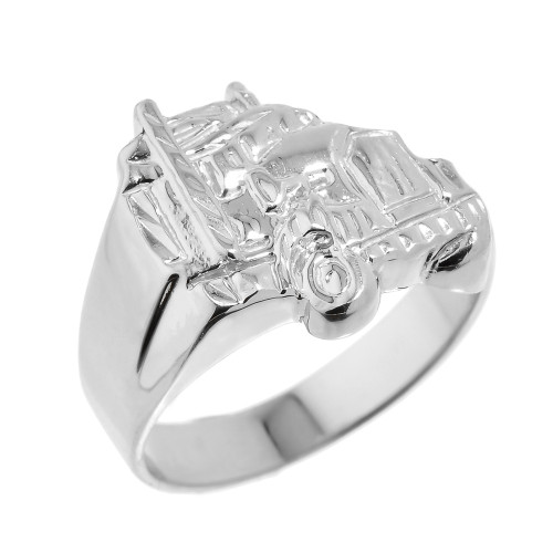 Men's Sterling Silver Truck Design Ring