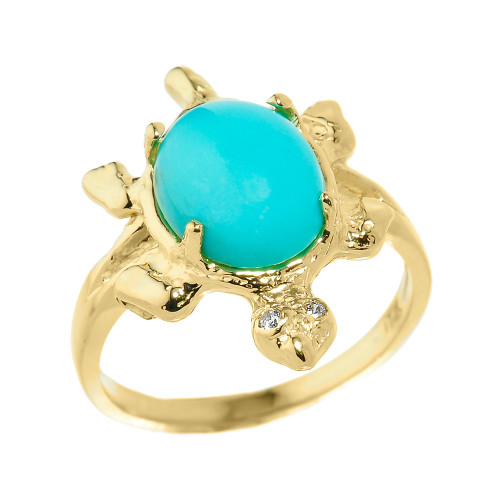 Yellow Gold Ladies Diamond and Turquoise Gemstone Turtle Ring