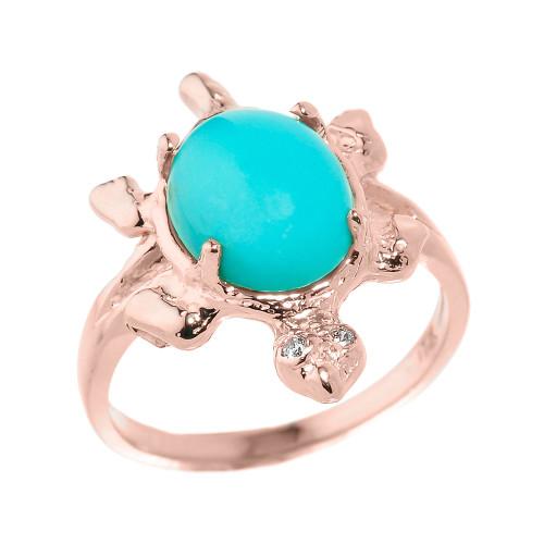 Rose Gold Ladies Diamond and Turquoise Gemstone Turtle Ring