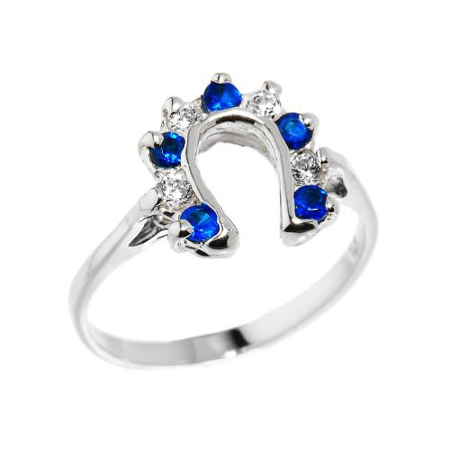 White Gold White and Blue CZ Ladies Horseshoe Ring
