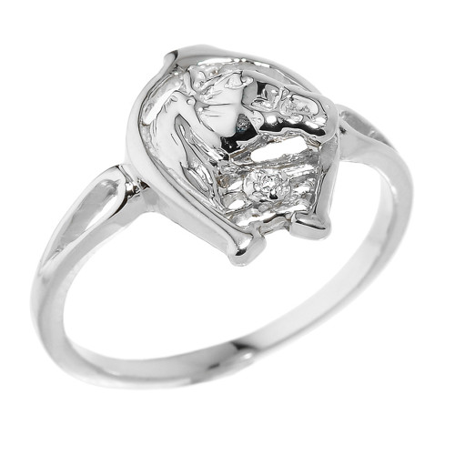 Sterling Silver Horseshoe with Horse Head Diamond Ring