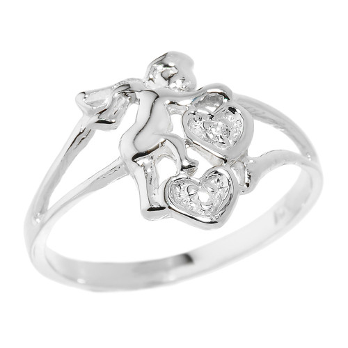 White Gold Angel with Diamond and Hearts Ladies Ring