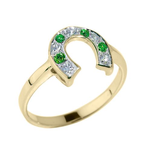 Yellow Gold White and Green CZ Ladies Horseshoe Ring