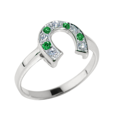 White Gold White and Green CZ Ladies Horseshoe Ring