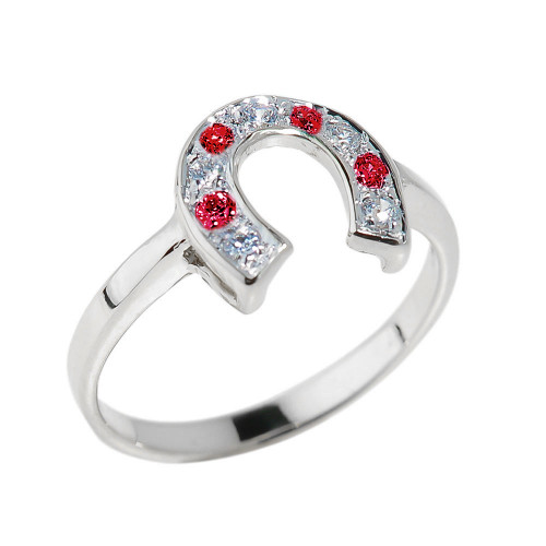 Sterling Silver White and Red CZ Ladies Horseshoe Ring