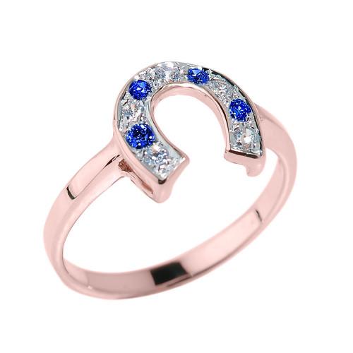 Rose Gold White and Blue CZ Horseshoe Ring
