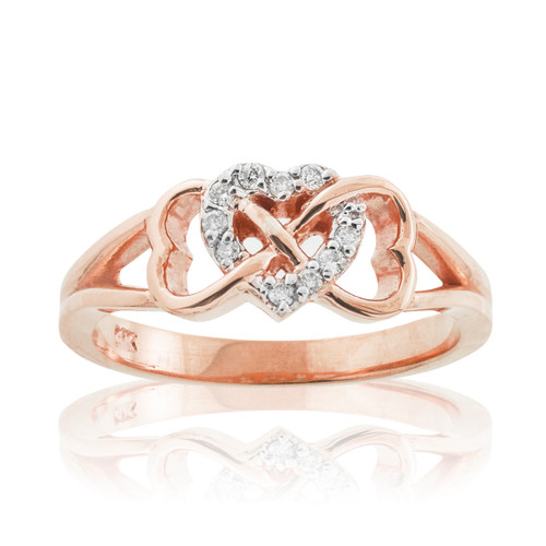 Rose Gold Diamond Infinity Heart Ring