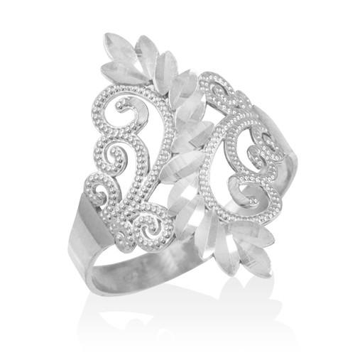 White Gold Filigree Diamond Cut Ring