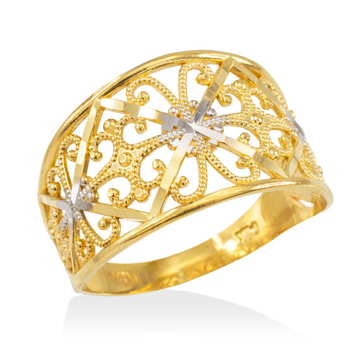 Two-Tone Gold Filigree Ring