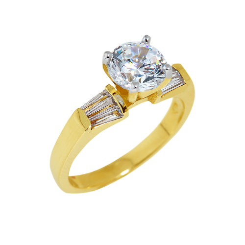Gold CZ Engagement Ring with Baguette Sidestones