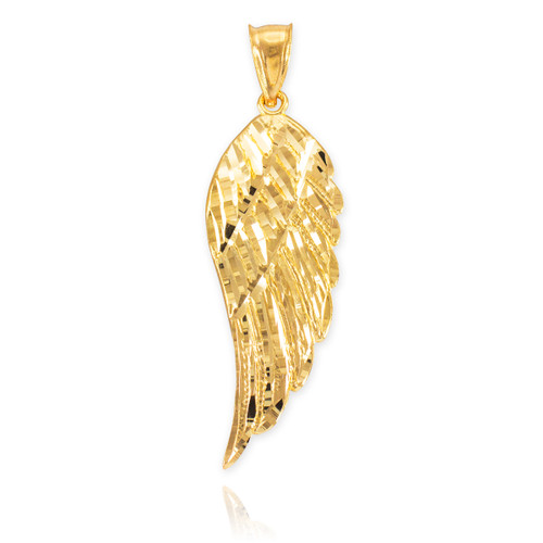 Gold Diamond Cut Wing Pendant