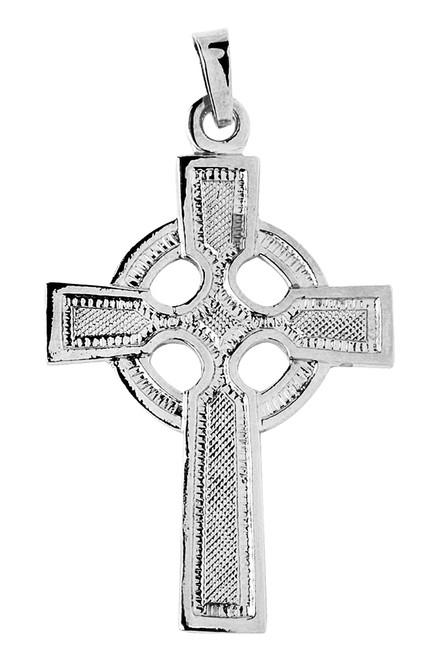 White Gold Celtic Pendant Cross