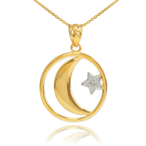 Gold Crescent Moon with Diamond Star Islamic Pendant Necklace