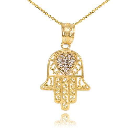 Gold Diamond Filigree Hamsa Pendant Necklace