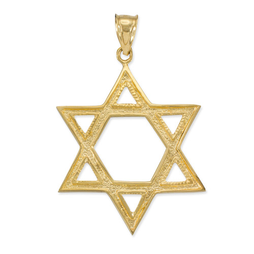 Gold Star of David Pendant 1.7 Inches