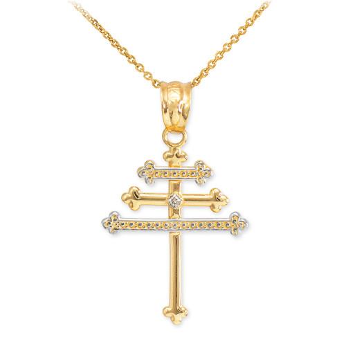 Gold Diamond Maronite Aramaic Cross Necklace