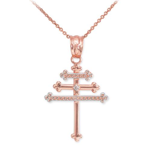 Rose Gold Diamond Maronite Aramaic Cross Necklace