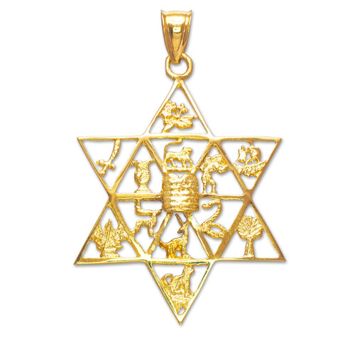 Gold Star of David with Twelve Tribes of Israel Pendant