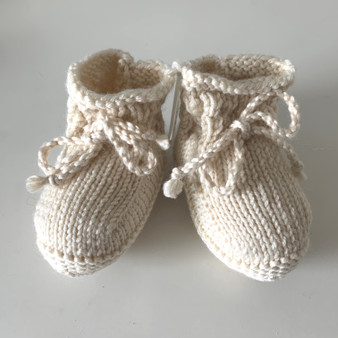 Soft White Booties 3-6 mo