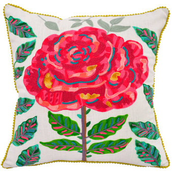 Rose Flower Embroidery Pillow