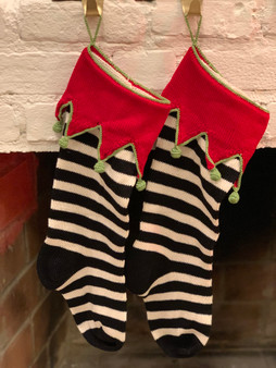 Elf Cuff Black & White Christmas Stocking