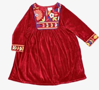 Velvet Red Floral Girl's Dress