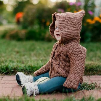 Hooded Pecan Coat Sweater