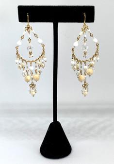 Beaded Gold Plated Chandelier Earrings