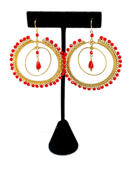 Red Hoop Chandelier Earrings