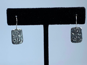 White Brass Etched Earrings