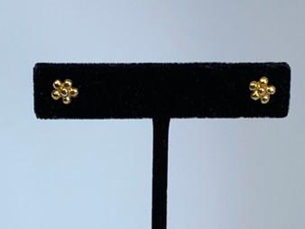 Tiny Flower Brass Earrings