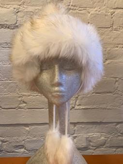 White Faux Fur Knit Hat