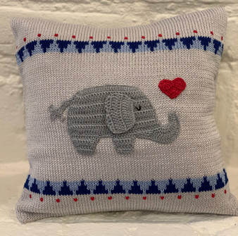 Elephant with Heart Valentine Pillow