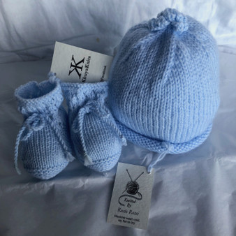 Baby Hat and Bootie Set - Light Blue