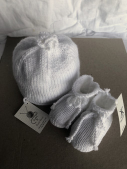 Baby Hat and Bootie Set - White