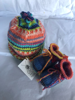 Baby Hat & Bootie Set - Multi Colored