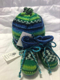 Baby Hat and Bootie Set - Blue Green