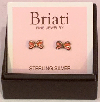 Pink Bow Sterling Earrings