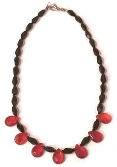 Black & Red Leaf Necklace