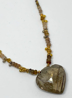 Rutilated Quartz Heart Necklace