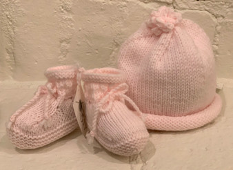 Baby Bootie and Hat Set - Light Pink
