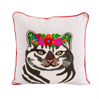 Cat Floral Pillow