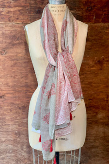 Gray and Red Block Printed Scarf