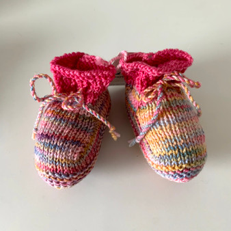 Multi-Colored Pink Pastel Booties- 0-3 mo.