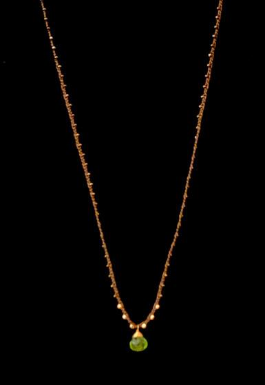 Silk Braided Peridot Necklace