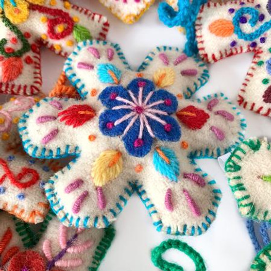 Snowflake Embroidered Wool Ornament