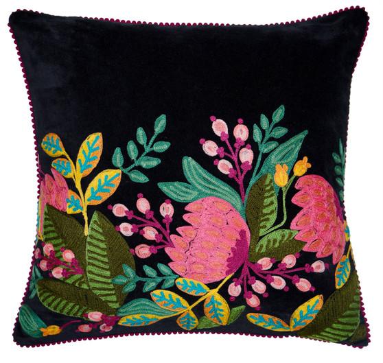 Black Velvet Floral Pillow