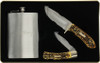 Schrade Uncle Henry Fixed knife and Folding knife Combo.  Includes hip flask and gift tin.