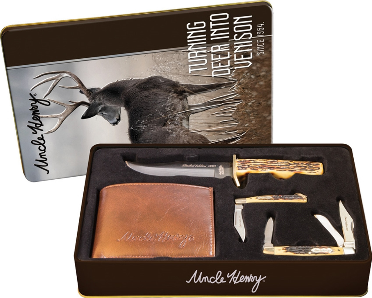 Schrade Uncle Henry Gift Set. One fixed blade knife, two folding knives and a wallet. Gift Tin. ( SCHP1105613)