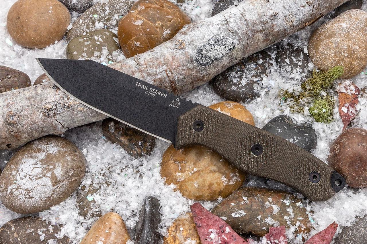 "TOPS Knives Trail Seeker Fixed Blade Knife 4.5"" 1095 Black Clip Point, Green Canvas Micarta Handles, Kydex Sheath"